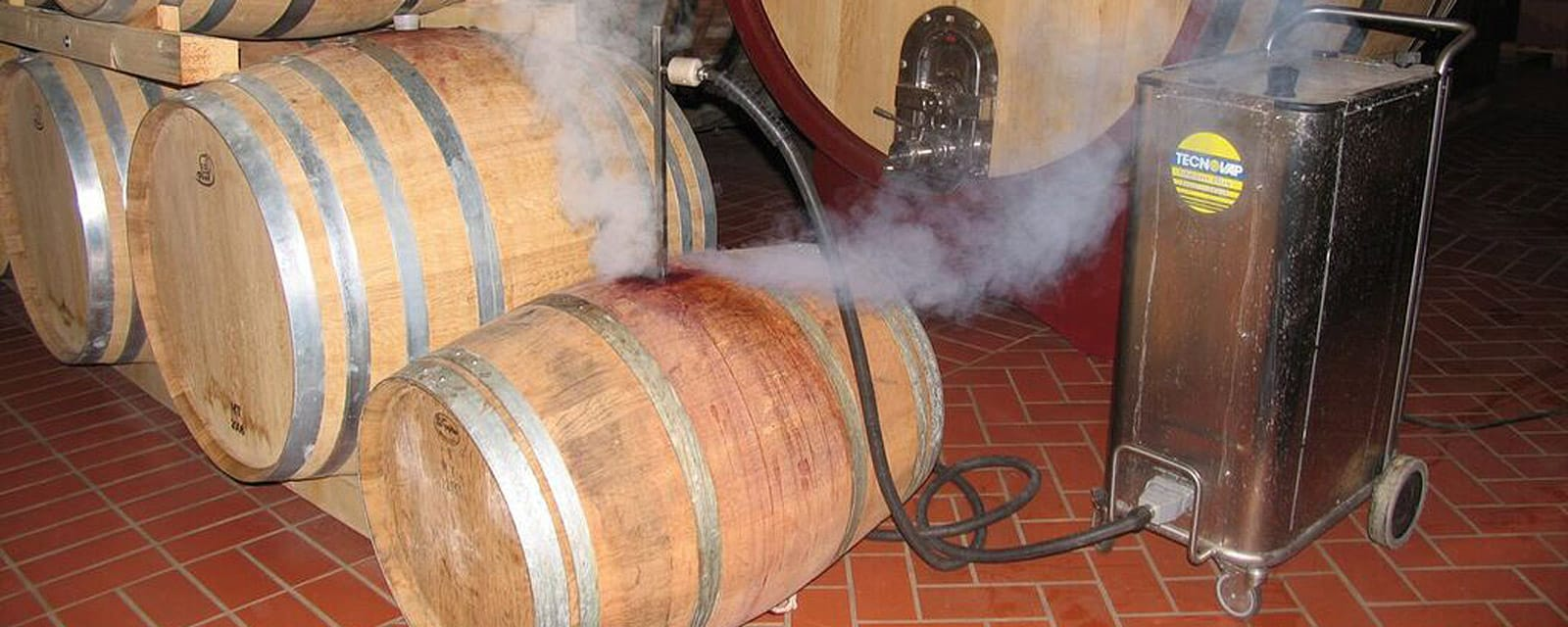 "steam vapour wine barrel cleaning machine"" alt=""high pressure steam exits the machine as dry vapour and is the most effective way to sanitise wine barrels"