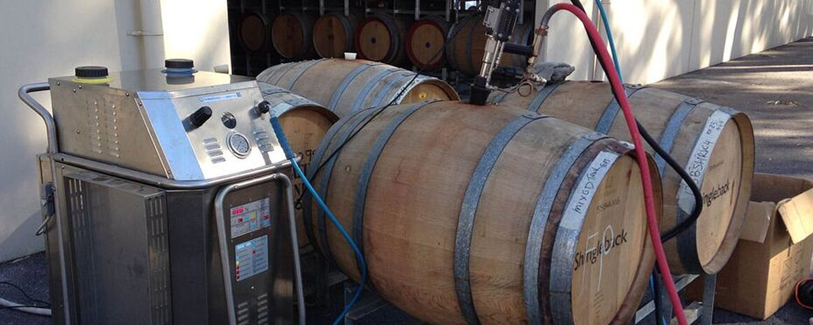 "high pressure steam vapour wine barrel cleaning machine"" alt=""our steam vapour machines clean wine barrels better than anything else available, without using chemicals or wasting water"