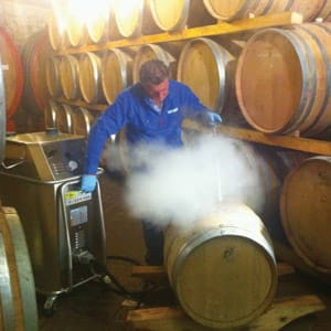 Wine Barrel Cleaning in action with Steam