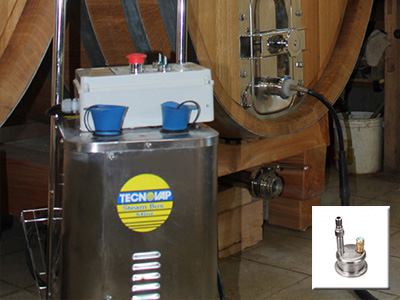 the garolla connection securely fastens the steam output attachment to winery vats