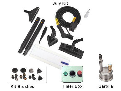 the July Kit contains a number of useful attachments and accessories to make your work easier when you use our high temperature dry steam vapour machines