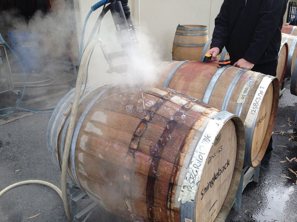 high pressure within the wine barrel, causes steam vapour to discharge. This is part of the optimal barrel sanitizing process, which kills brettanomyces and clenases deep within the pores of the wood