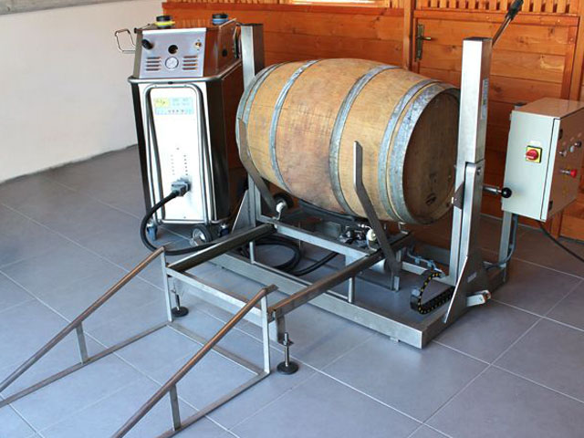 the perfect wine barrel cleaning system for medium volume wineries. A semi-automatic barrel handler, paired with a bacchus steam pressure generator, cleans and dispels any contaminants and residue from the previous season
