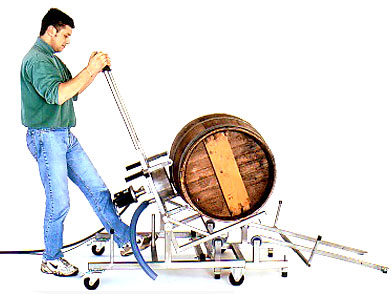 a cntrolled release of the clean wine barrel, ensures safe and efficient handling, ready for the next unit