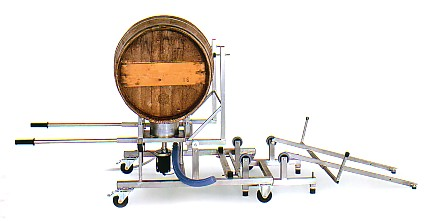 the manual handling trolley also retains the wine barrel securely, ready for the operator to clean and sterilize it